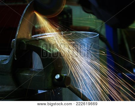 welder job with a metall, close-up capture in factory