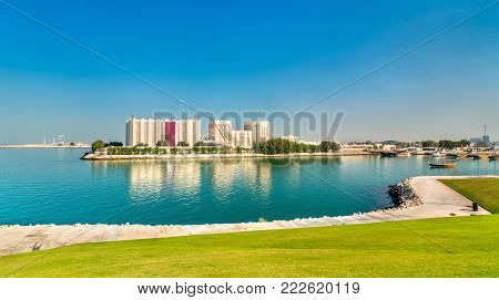 View of Flour Mills in Doha, the capital of Qatar. The Middle East
