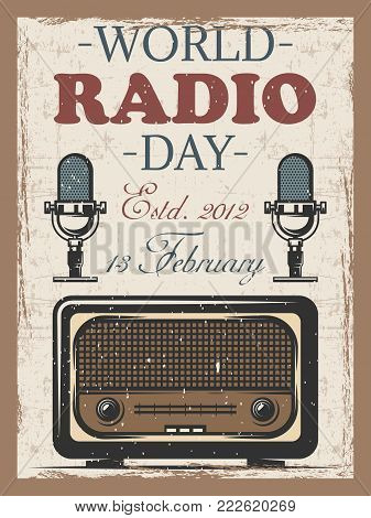 World radio day colored vintage poster with retro radio and mocrophone. advertising template