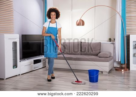 Portrait Of A Happy Female Housekeeper Cleaning Floor With Mop poster