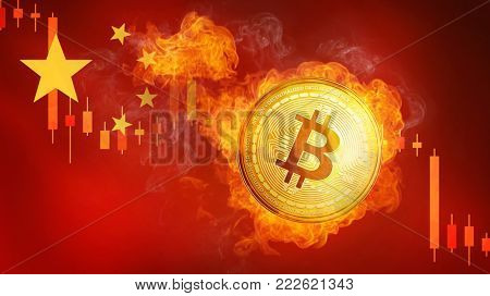 Golden bitcoin coin on China flag in fire is falling. Burning crypto currency bitcoin cash falling down, Chinese blockchain cryptocurrency market crash bubble burst concept.