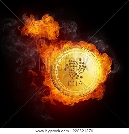 Golden IOTA coin in fire flame is falling. Burning crypto currency IOTA falling down, blockchain cryptocurrency market crash bubble burst concept. Illustration isolated on black background.
