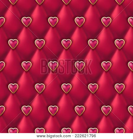 Seamless Black Leather Texture With Shiny Red Golden Hearts Buttons. Vector Silk Textile, Valentines