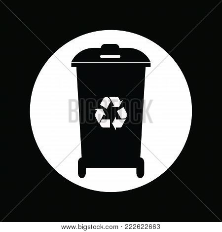 Different colored recycle waste bins vector illustration.Black waste bins with trash icon.