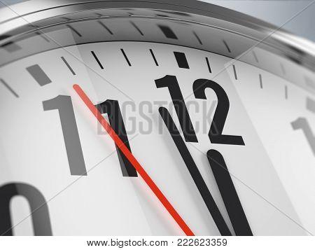 Time, deadline concept, closeup of hands on clock face. 3d illustration