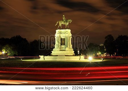Richmond, Va - October 7: Civil War Monuments Such As The Robert E. Lee Statue On Monument Avenue Re