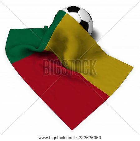soccer ball and flag of benin - 3d rendering