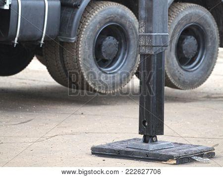 Leg of a truck lift close up