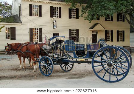 Williamsburg, Va - October 6: The Horse And Carriage Was A Primary Method Of Transportation Used By
