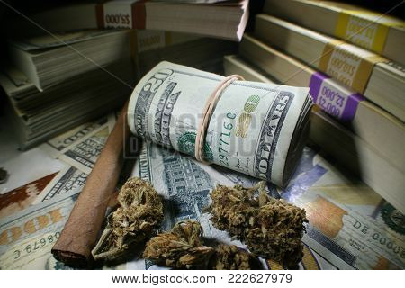 Marijuana Profits With Roll Of Twenties & Stacks Of Hundreds Stock Photo High Quality