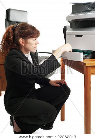 Business Lady With A Printer