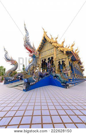 CHIANG RAI, THAILAND - January 11, 2018: Blue Temple or Wat Rong Sua Ten is one of the landmark of Chiang Rai Province. This place is the popular attraction for Chiang Rai trip.