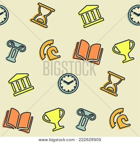 A seamless pattern on the theme of school and education. The subject is history. Cup, helmet, column, amphitheater and other elements for the design of the background of the booklet, poster, leaflets.