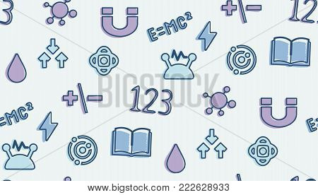 A seamless pattern on the theme of school and education. The subject of physics. Magnet, formulas, strength, tension and other elements for the design of the background of the booklet, poster, site.