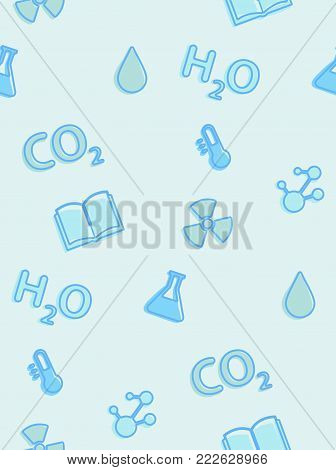 A seamless pattern on the theme of school and education. Subject chemistry. Formulas, flasks, test tubes and other elements for the design of the background of the booklet, poster, leaflets.