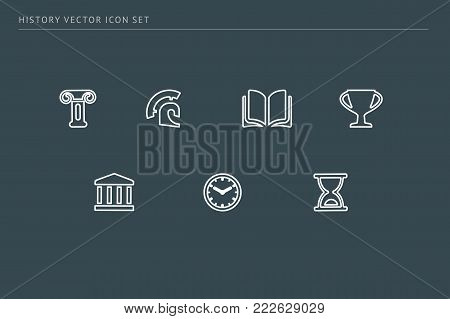 A set of outline vector icons on a theme school education. The subject is history. Column, clock, helmet, amphitheater.