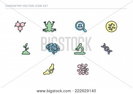 A set of outline vector icons on a theme school education. The subject of biology. Frog, virus, brain, microscope, joint, plant.