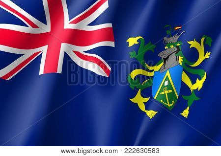Pitcairn Islands realistic flag. Patriotic symbol in official country colors. Illustration of Oceania state flag. Vector icon