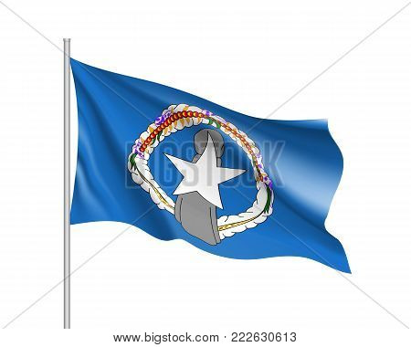 Waving flag of Northern Mariana. Illustration of Oceania country flag on flagpole. Vector 3d icon isolated on white background