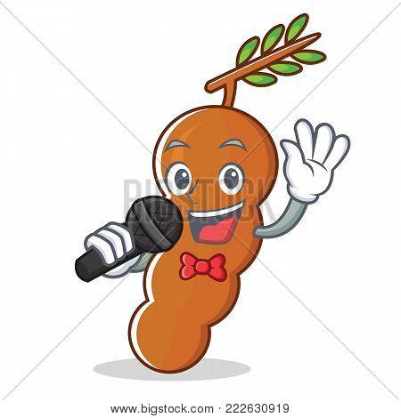 Singing tamarind mascot cartoon style vector illustration