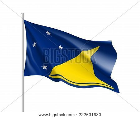 Waving flag of Tokelau Islands. Illustration of Oceania country flag on flagpole. Vector 3d icon isolated on white background