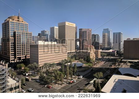 PHOENIX, AZ, USA - JANUARY 11, 2018: Sunny winter day and clear blue sky above 3rd Avenue and Jefferson intersection in Phoenix downtown, capital city of Arizona