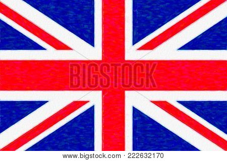 Watercolor flag of Great Britain, paper texture. Symbol of Independence Day, souvenir soccer game, button language, icon.