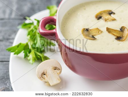 Freshly prepared cream soup of mushrooms with croutons on a white plate. Cream soup of mushrooms, potatoes and cream with spices. The decoration of raw mushrooms.