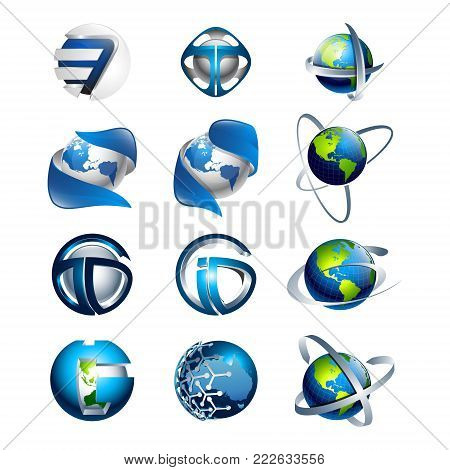 3D Blue Leaf With Globes In It And Abstract Logo Design Elements [converted]