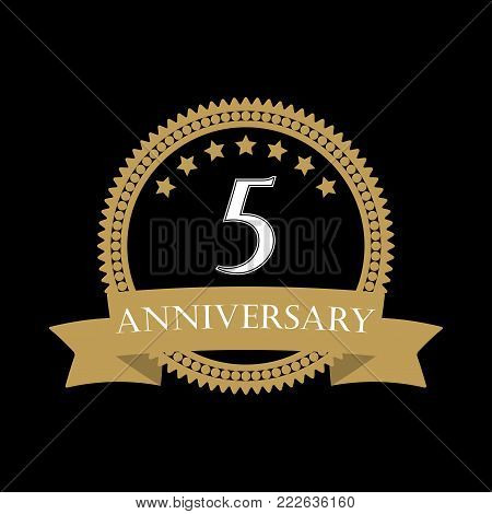 5 Years Anniversary Template With Ribbon. 5th Celebration Emblem Or Icon. Vector Illustration.