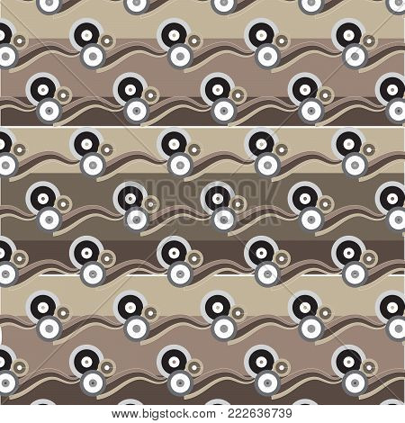 white black silver brown circle group with brown shade wave pattern brown shade striped background vector illustration image