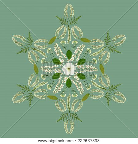 Natural mandala from dried pressed flowers, petals and leaves. Mandala is symbol of meditation, Buddhism, Hinduism, yoga. Geometric mandala drawing made by plants on green background in oriental style.