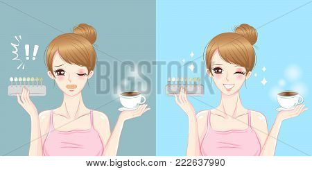 woman take coffee and with tooth whitening tool on the blue background