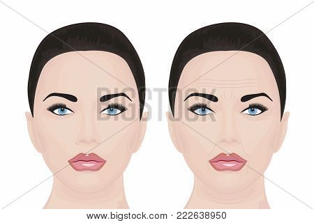 Young and aging face vector illustration Before and after