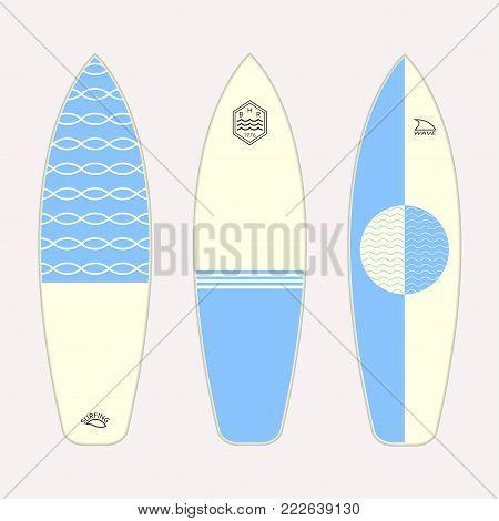 Surfboard set. Different surfboards design. Vector illustration.
