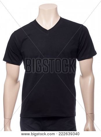 Black plain shortsleeve cotton T-Shirt on a mannequin isolated on a white background