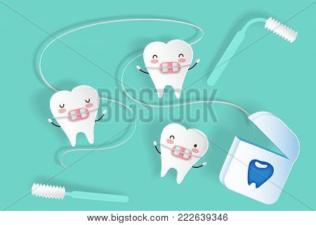 cute cartoon tooth wear brace on the green background