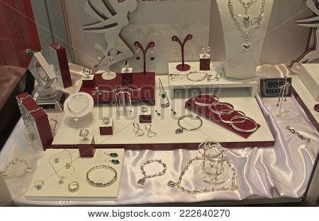 Various silver jewelry on display at exhibition