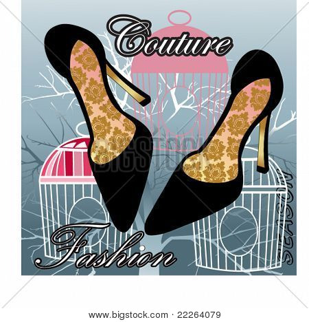 Couture fashion shoes with pattern on insoles - birdcages and tree in background