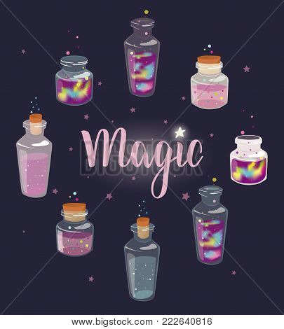Set of transparent glass bottles with liquid space and magic liquids. Cartoon jars with miracles. Vector hand drawn illustration.