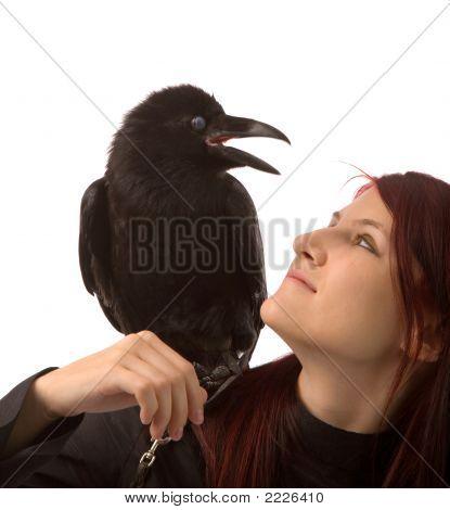 Woman With Black Raven
