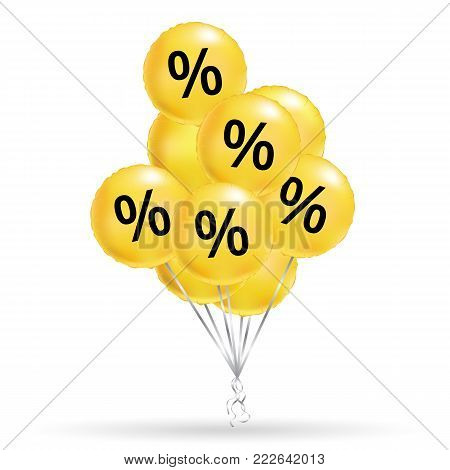 Sale balloons yellow background. Fun balloon. fun message, Greeting card, Positive mood poster, discount banner. Special offer poster, low price banner, Discount flyer, wallpaper, Shopping template