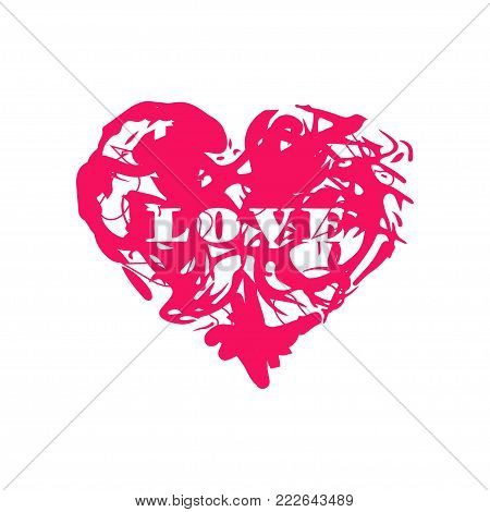 Grunge splash heart. Stock vector illustration of love symbol, Valentine's Day signs. Unique heart shape texture tevplate for your design.