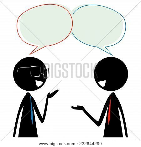 Vector Illustration of Two Stick Figure Silhouette Business Man Talking with Speech Bubble on their Head