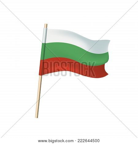 Bulgaria Tricolor (white, Green And Red Stripes) Flag On White Background