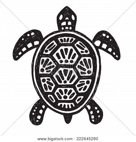 Sketchy tribal drawing of a sea turtle. Black and white vector illustration.