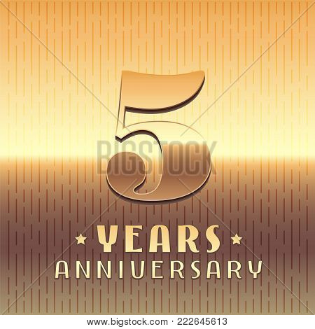5 years anniversary vector icon, symbol. Graphic design element or logo with golden metal number for 5th anniversary