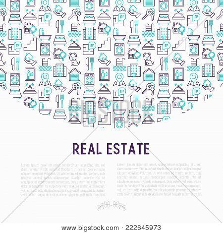Rea estate concept with thin line icons: apartment house, bedroom, keys, elevator, swimming pool, bathroom, facilities. Modern vector illustration for web page, print media.