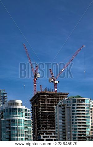 New construction of high-rise building in Residential District in downtown of Vancouver