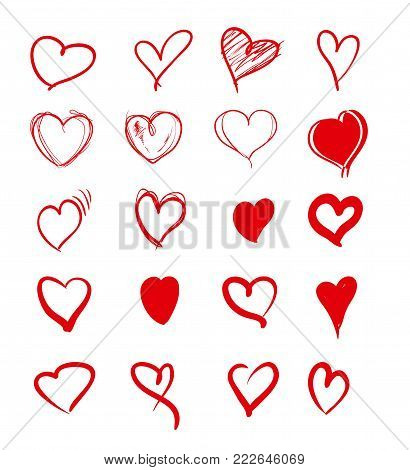 Set Of Red Grunge Hearts. Vector Heart Shapes